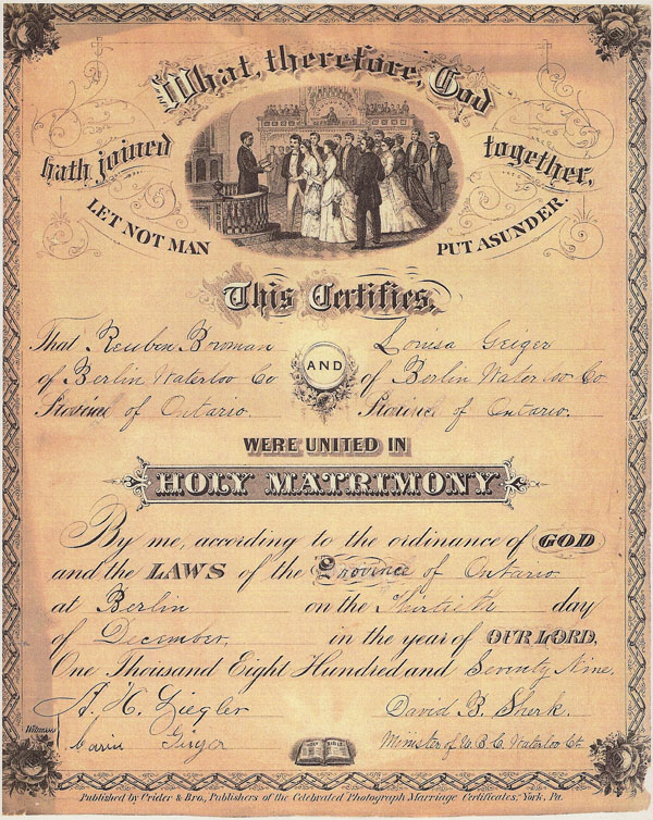 Bowman / Geiger Marriage Certificate