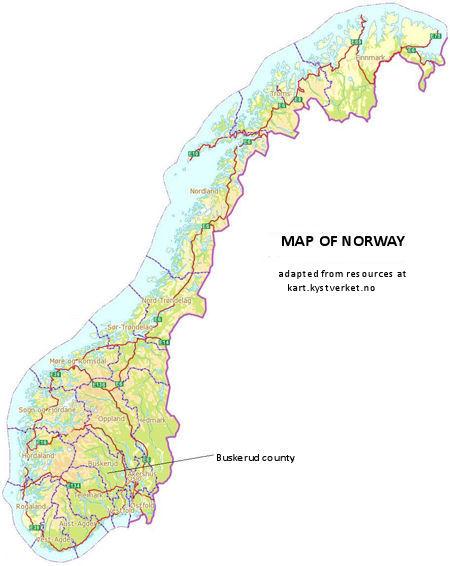 WurmHastings Genealogy Pages - Norway map jpg