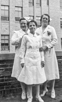 Anna Wurm (right) with fellow nurses at Pontiac Osteopathic Hospital, circa 1940s
